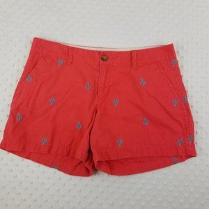 Old Navy Coral Nautical Embroidered Shorts